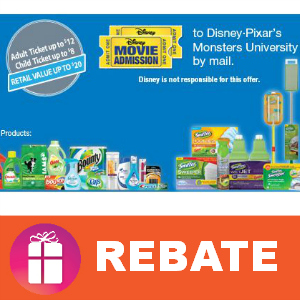 Rebate Movie Tickets to Monsters University