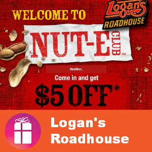 Coupon $5 off $20 at Logan's Roadhouse