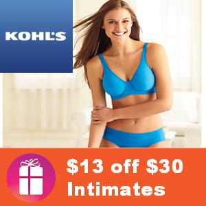 $13 off $30 Kohl's Intimates