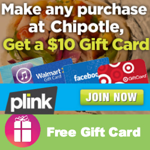 Free $10 Gift Card with any Chipotle Purchase
