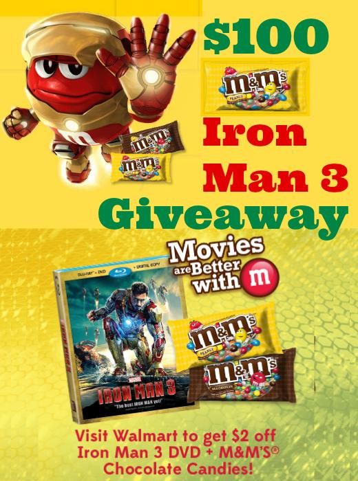 $100 M&M's Iron Man 3 Giveaway