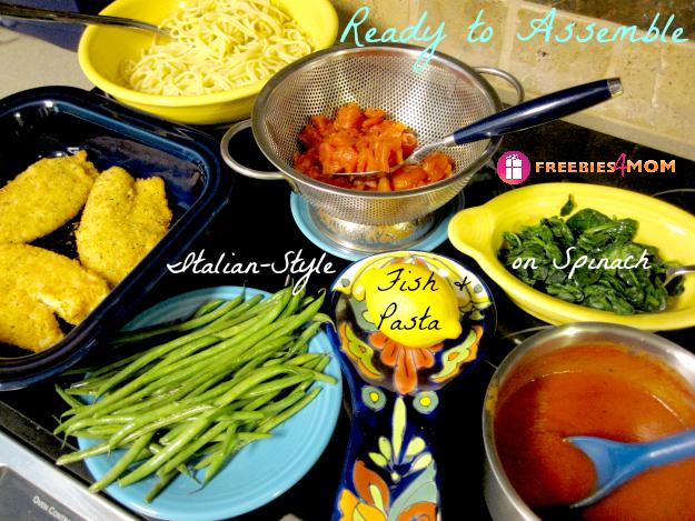 Ready to Assemble Italian-Style Fish & Pasta on Spinach #SamsDemos #cbias #shop