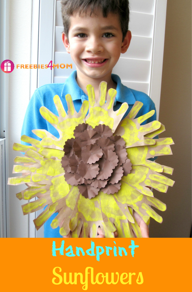 Handprint Sunflowers Kids Craft #Fiskars4Kids #cfk #cbias #shop