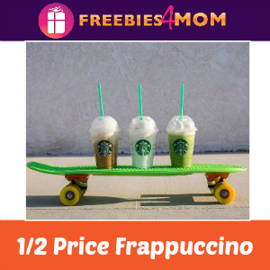 1/2 Price Frappuccino at Starbucks 3-5 pm