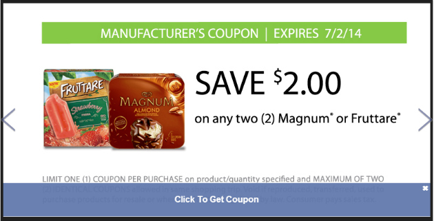 Fruttare Coupon and Magnum Coupon at Food Lion
