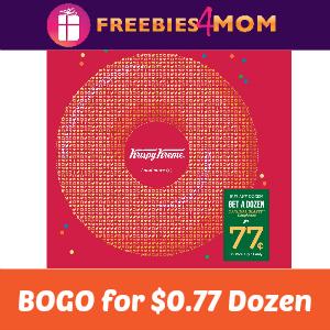 BOGO Krispy Kreme Dozen for $0.77