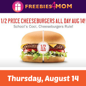 Sonic 1/2 Price Cheeseburgers Thursday