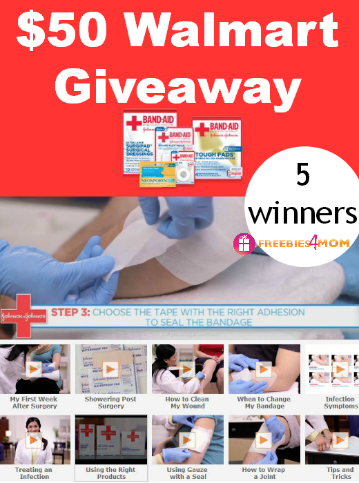 $50 Walmart Gift Card Giveaway - Johnson & Johnson Wound Care Resource
