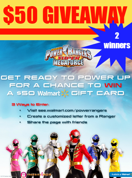 $50 Walmart Gift Card Giveaway ~ Power Rangers Super MegaForce