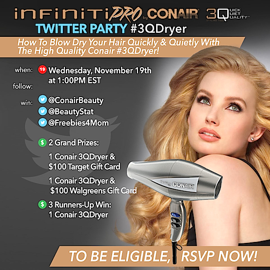 $799 in Prizes at #3QDryer Twitter Party Nov. 19 1pm ET