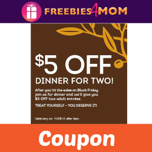 $5 Off Dinner For Two at Olive Garden Friday