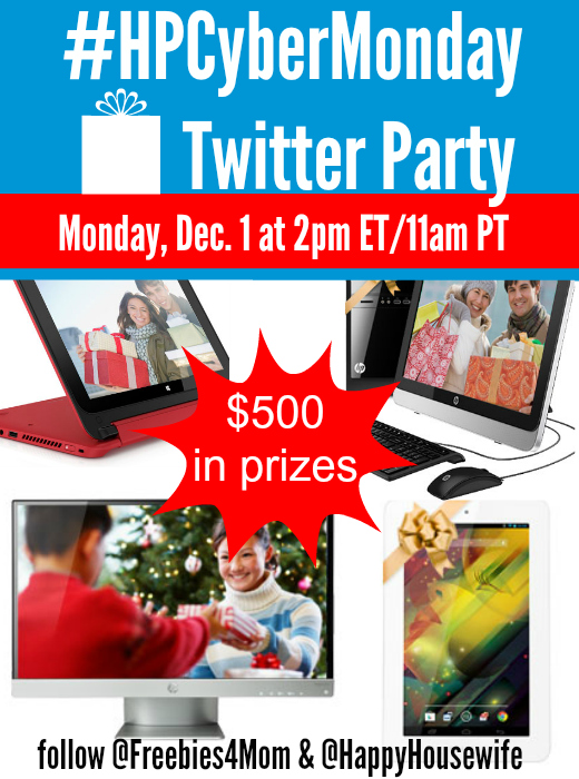 $500 in Prizes at #HPCyberMonday Twitter Party 12/1 2 pm ET/11 am PT