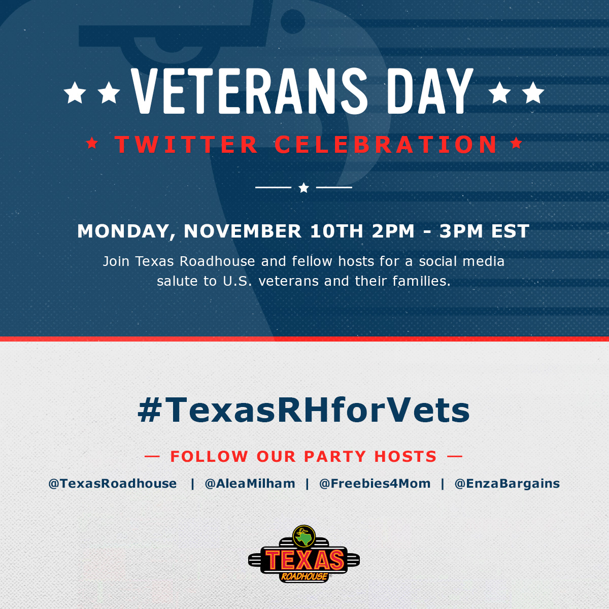 $400 in Prizes at #TexasRHforVets Twitter Party Nov. 10 2pm ET