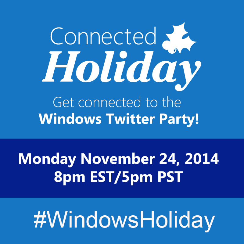 $300 in Prizes at #WindowsHoliday Twitter Party Nov. 24 8pm ET