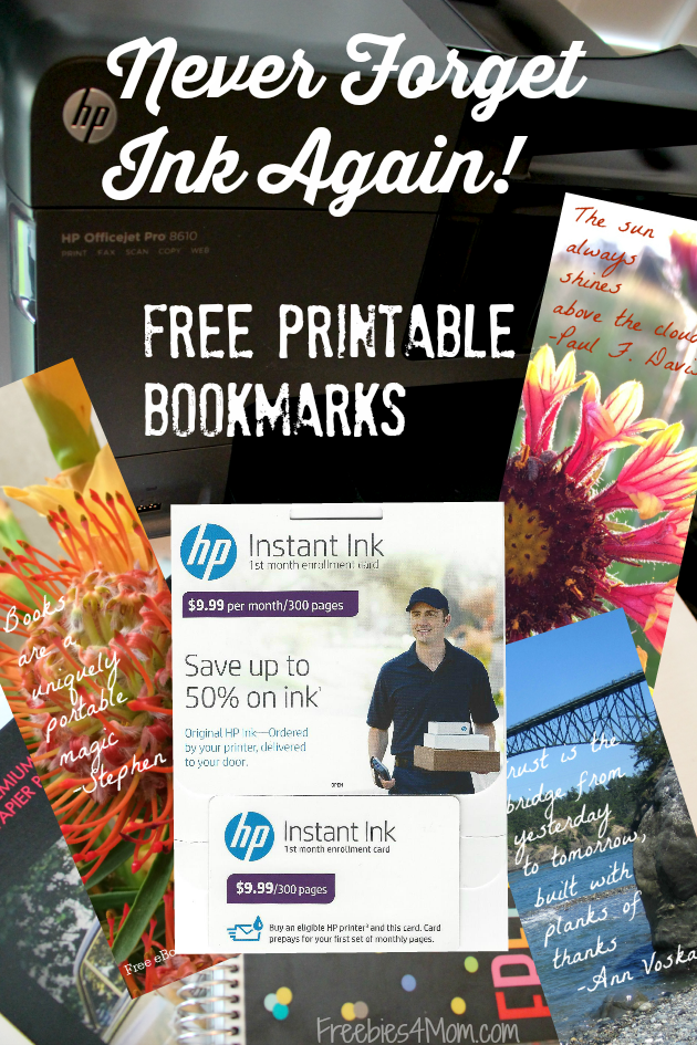 Never Forget Ink Again with HP Instant Ink ~ Free Printable Inspirational Bookmarks