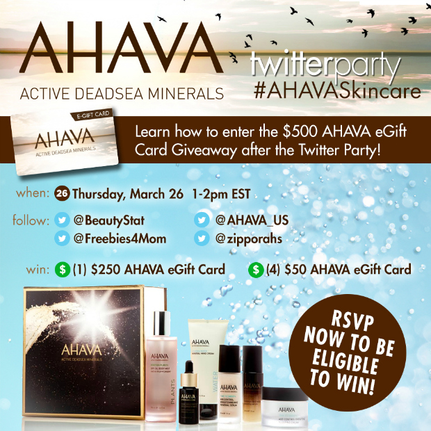 $450 in Prizes at #AHAVASkincare Twitter Party Mar. 26 1pm ET