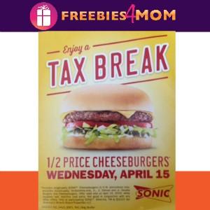 1/2 Price Cheeseburgers at Sonic Wednesday