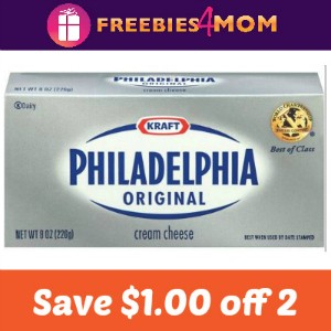 Coupon: Save $1.00 on 2 Philadelphia Cream Cheese