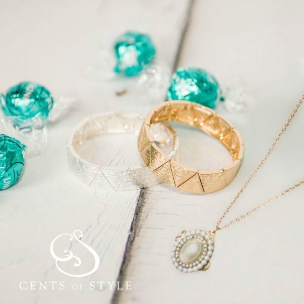 Triangle Stretch Bracelet & Pearl Locket Necklace