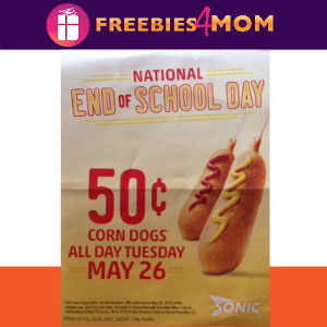 $0.50 Corn Dogs at Sonic May 26