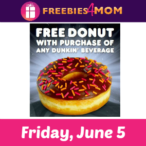Free Donut at Dunkin' Donuts June 5
