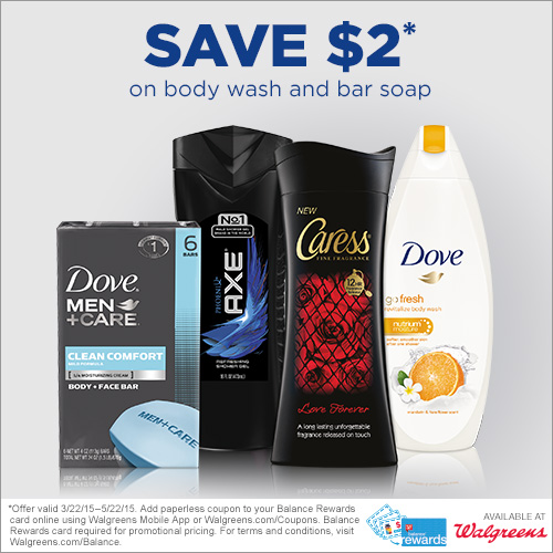 FRIDAY DEAL: $2.00 off Axe, Caress, Dove, Dove Men+Care, Lever 2000 at Walgreens