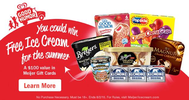 Meijer Ice Cream Summer Sweepstakes Text-2-Win