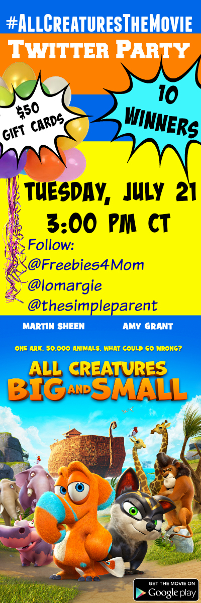 $500 in Prizes at #AllCreaturesTheMovie Twitter Party June 21 3pm CT