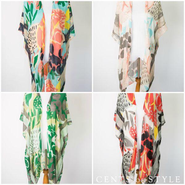 Abstract Printed Kimono $12.95 (+Earring Deal)
