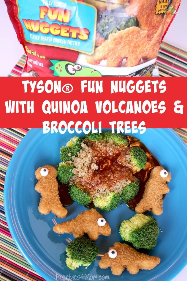 Tyson® Fun Nuggets with Quinoa Volcanoes & Brocoli Trees ~ Easy Back To School Dinner