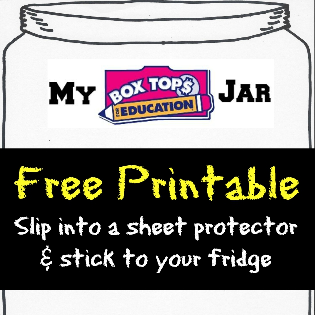 Free Printable Box Tops Jar slips into a sheet protector to stick on your fridge
