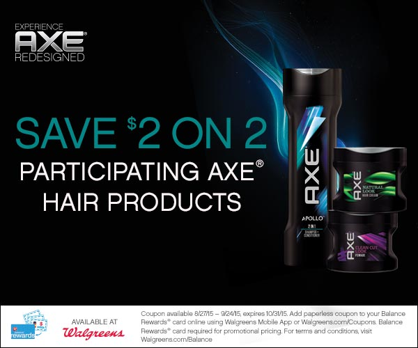 Expired Walgreens Coupon Save 2 On 2 Axe Hair Products Freebies 4 Mom