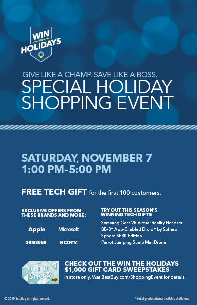 Best Buy Nov. 7 for Special Holiday Shopping Event