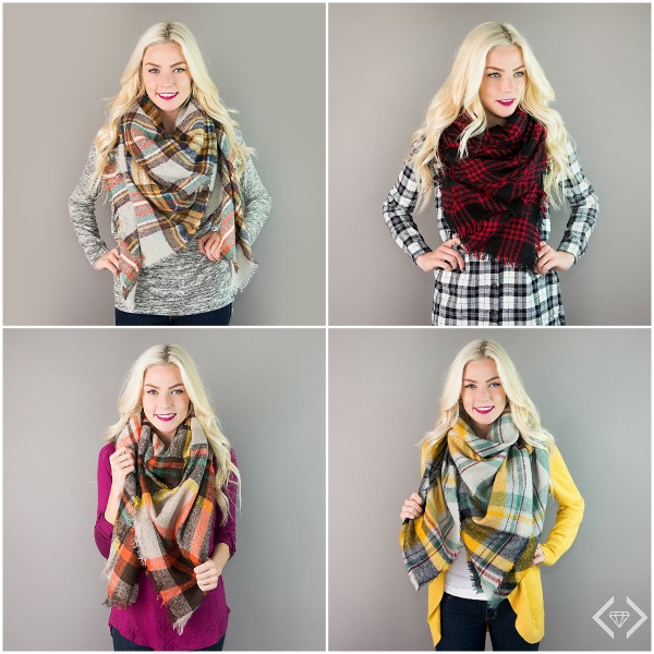 $15.95 Plaid Blanket Scarves