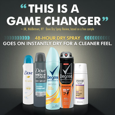 Try 48-hour Dry Sprays from Unilever