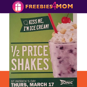 1/2 Price Shakes at Sonic March 17