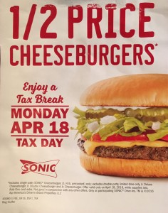 1/2 Price Cheeseburgers at Sonic April 18