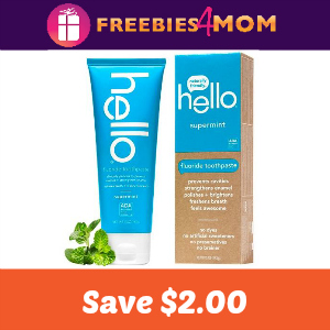 Coupon: $2.00 off any Hello Toothpaste