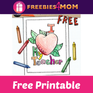 Free I Love My Teacher Coloring Page