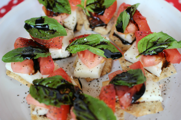 Caprese Salad on Van's® Gluten-Free Crackers