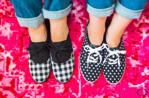 $15.95 Plaid & Polka Dot Canvas Sneakers