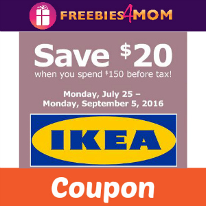 Save $20 off $150 at IKEA
