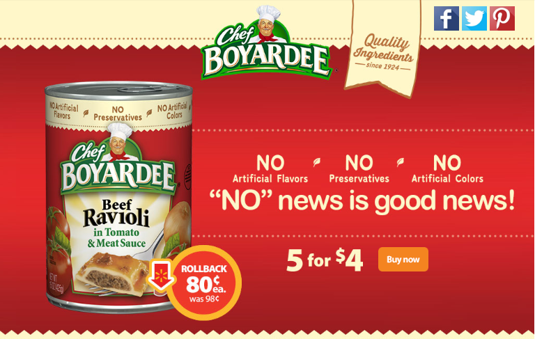 Rollback on Chef Boyardee to $0.80