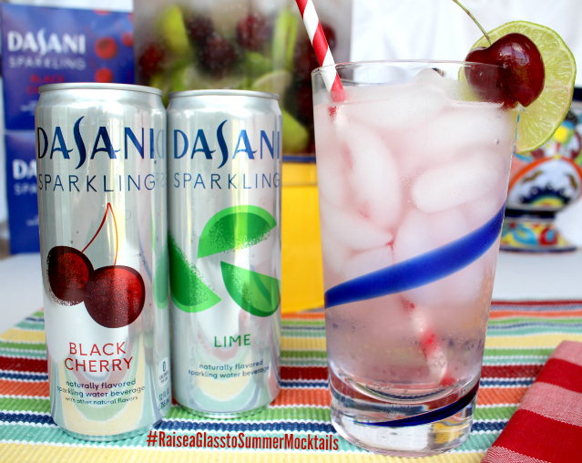 Cherry Limeade Mocktail made with Dasani Sparkling