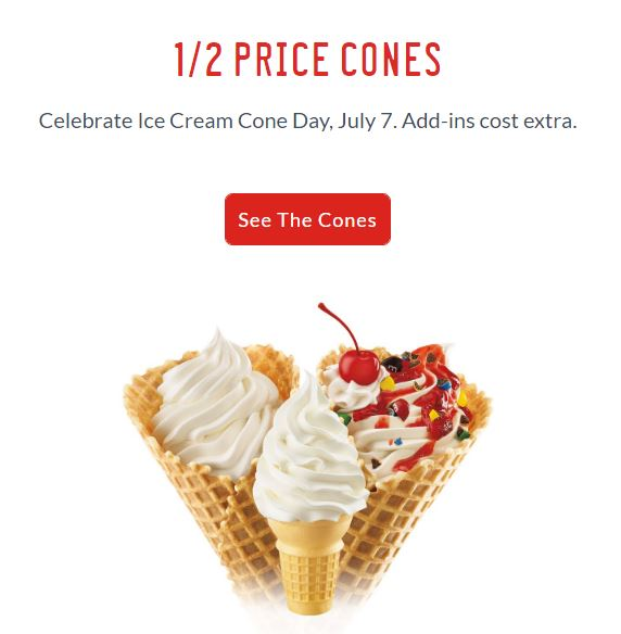 1/2 Price Cones at Sonic July 7