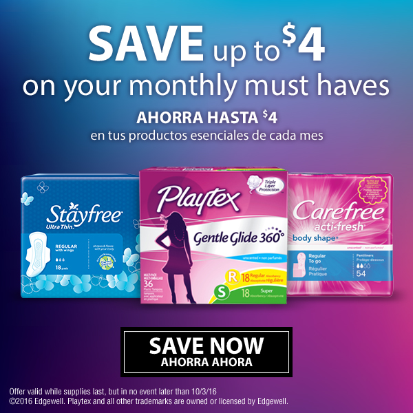 Save up to $4 on Carefree, Playtex and Stayfree