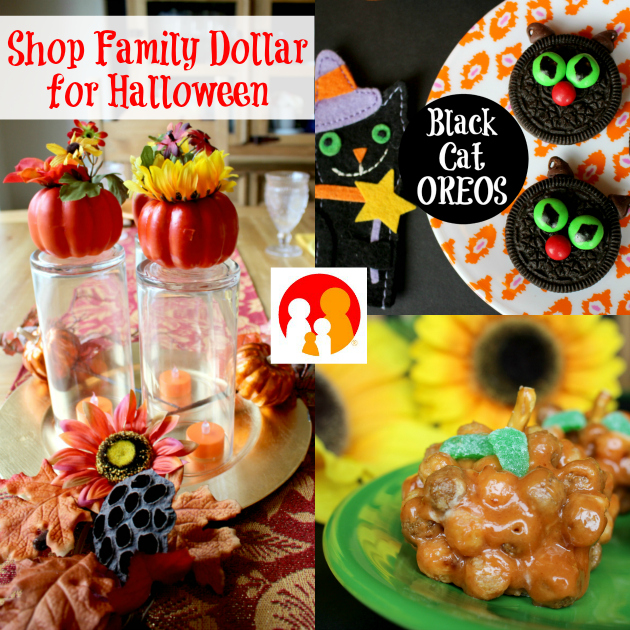 Shop Family Dollar for Halloween: Black Cat OREOS, Reese's Pumpkin Puffs & Fall Centerpiece