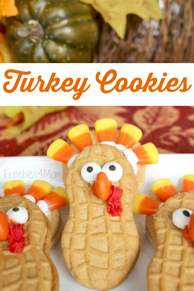 Turkey Cookies using Nutter Butter and OREO cookies