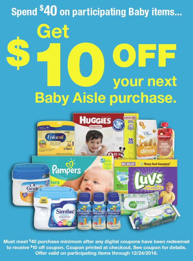 $10 off Baby Aisle Purchase at Kroger