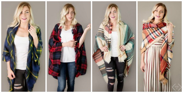 2 Plaid Blanket Scarves for $16